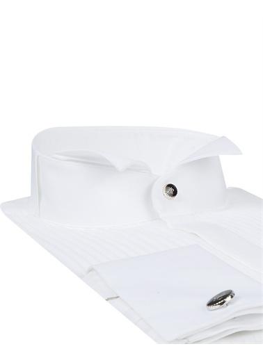 Damat Slim Fit Düz Smokin Gömlek Beyaz